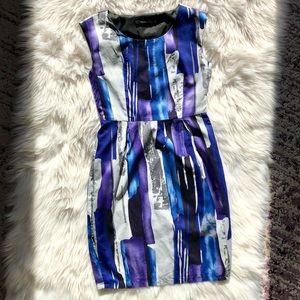 VAN HEUSEN Abstract Pattern Silk Sheath Dress XS